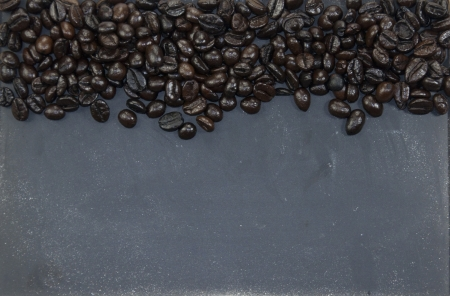 coffee beans and blackboard photo