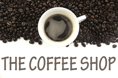 shop sign: the coffee shop sign Stock Photo