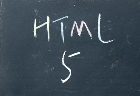 html 5 sign written with chalk on blackboard Stock Photo - 22244250