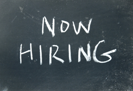 now hiring sign  photo
