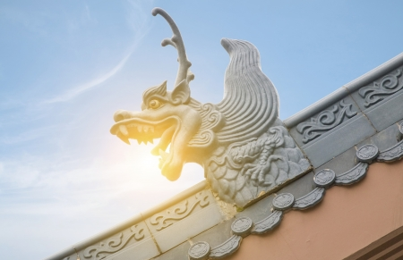Dragon sculpture on roof photo
