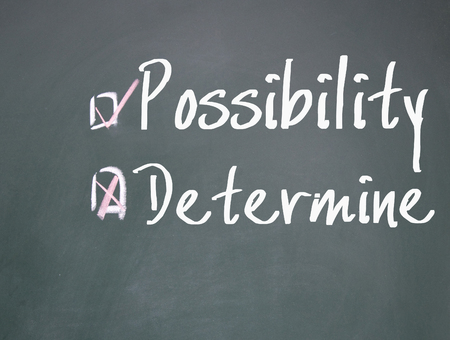 possibility: determine or possibility choice Stock Photo