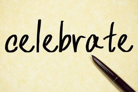 commend: celebrate word write on paper