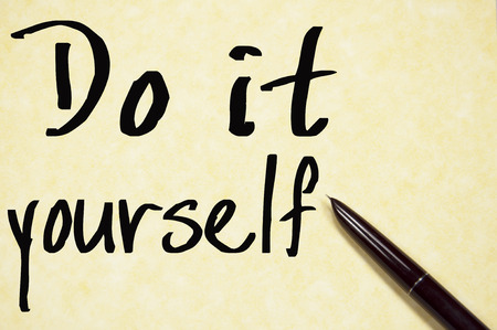 do it yourself: do it yourself text write on paper
