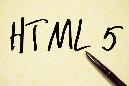 html 5: HTML 5 word write on paper Stock Photo