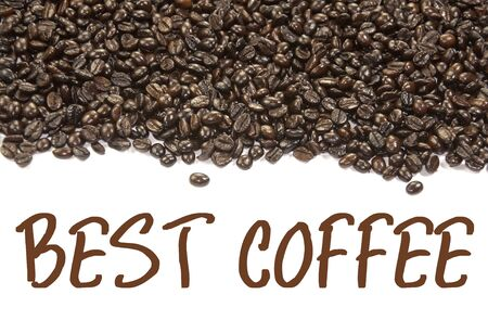 coffee beans and best coffee text