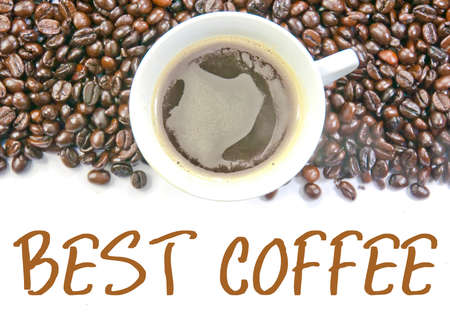 best coffee: coffee and beans with text of best coffee Stock Photo