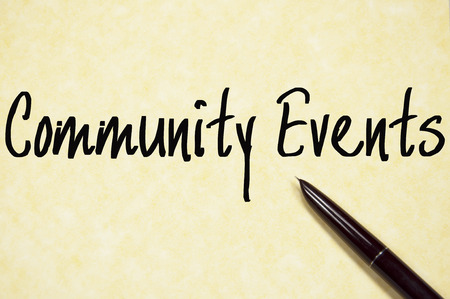 business event: community events text write on paper
