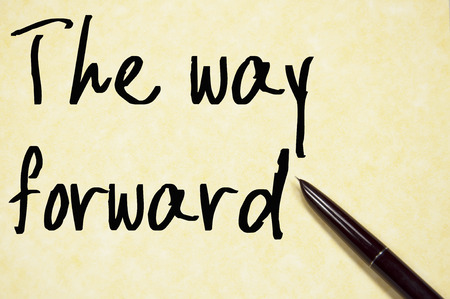 the way forward: the way forward text write on paper Stock Photo