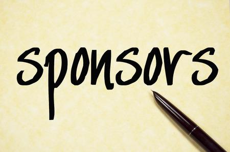 sponsorship: sponsors word write on paper