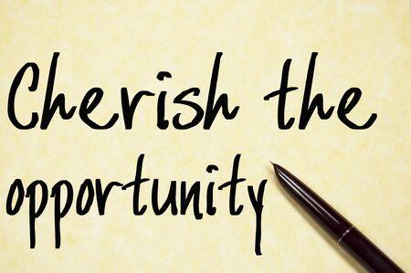 cherish: cherish the opporunity text write on paper