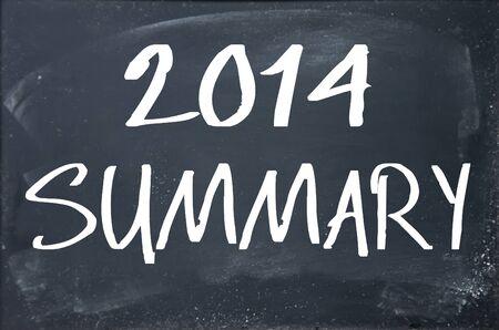 schoolroom: 2014 summary text write on blackboard Stock Photo