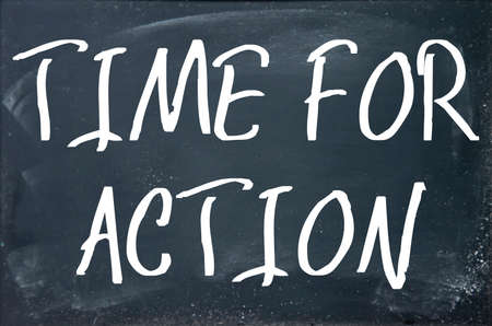 time for action text on blackboard