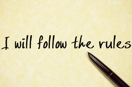 accordance: I will follow the rules text write on paper