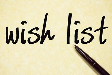 wish list: wish list text write on paper Stock Photo