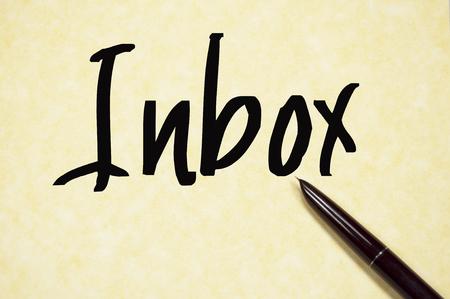 inbox: inbox sign on paper