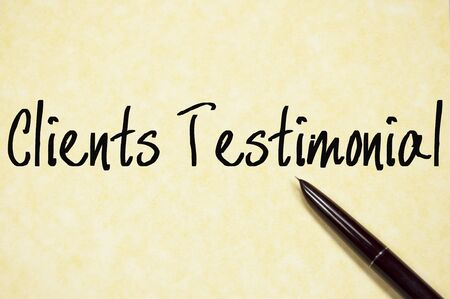 affirmations: clients testimonial text on paper