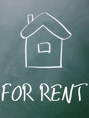 for rent sign: for rent sign on blackboard Stock Photo