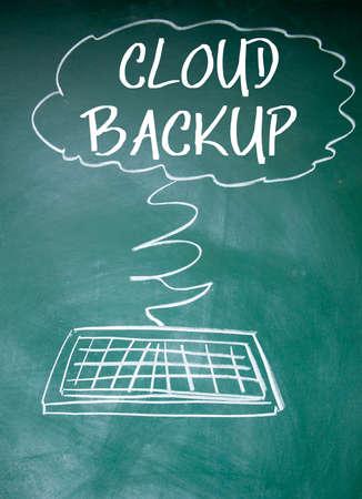 backup: cloud backup sign on blackboard Stock Photo