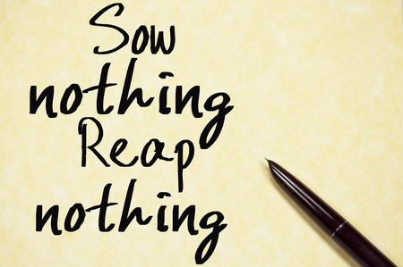 sow: sow nothing reap nothing text write on paper Stock Photo