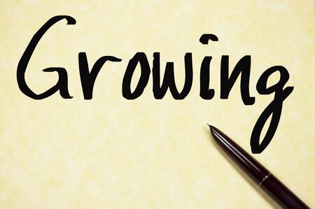 shrinking: growing word write on paper