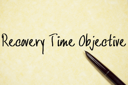 safety slogan: recovery time objective text write on paper Stock Photo