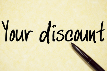 your: your discount text on paper Stock Photo