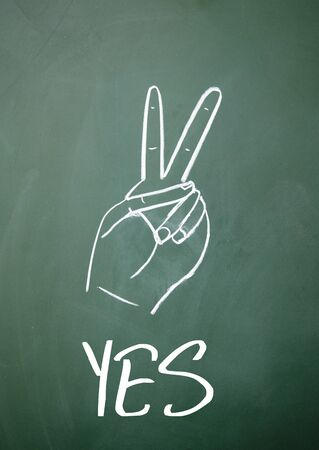 affirmed: yes sign on blackboard Stock Photo