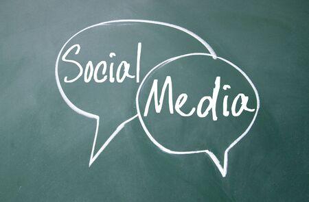 sns: social media sign on blackboard Stock Photo
