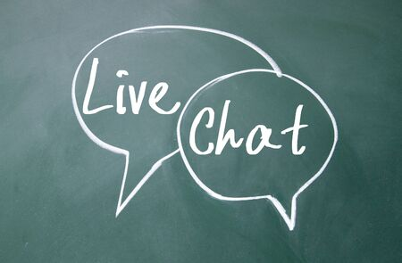 discourse: live chat sign on blackboard Stock Photo