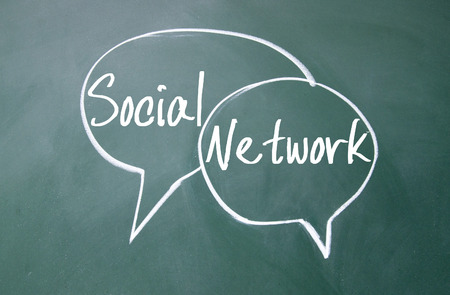 discourse: social network sign on blackboard Stock Photo