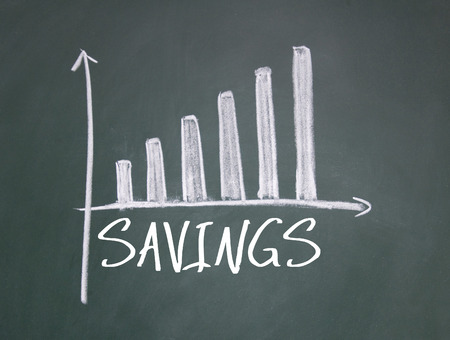 savings sign on blackboard