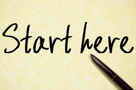 join here: start here text write on paper Stock Photo