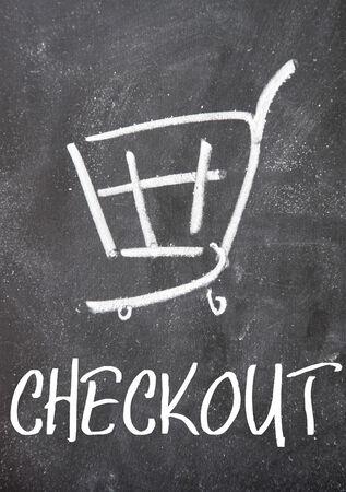 checkout sign on blackboard photo