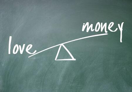 love and money sign on blackboard photo