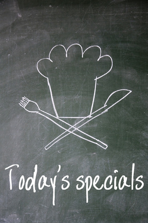 today specials sign on blackboard photo
