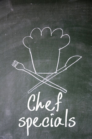 specials: chef specials sign on blackboard Stock Photo
