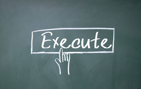 execute: execute word write on blackboard