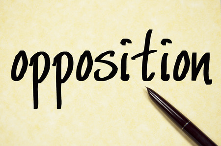 opposition: opposition word write on paper