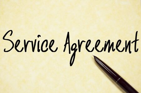 service agreement text write on paper Stock Photo