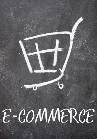 checkout line: E-commerce sign on blackboard