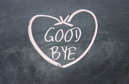 good bye sign on blackboard photo