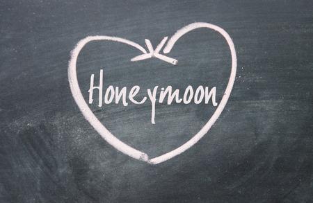 honeymoon: honeymoon sign on blackboard