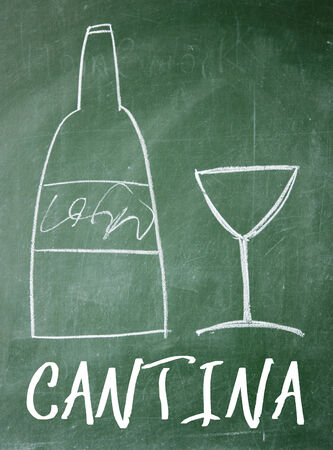 restaurant bill: cantina sign on blackboard Stock Photo