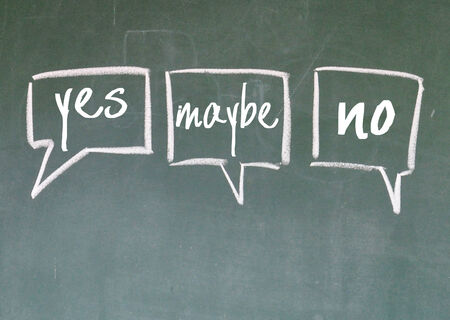 discourse: yes, maybe, no think on blackboard Stock Photo