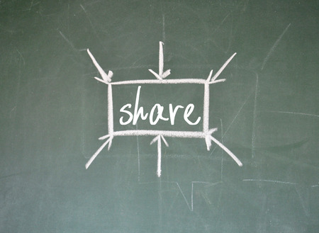 to partake: share sign on blackboard