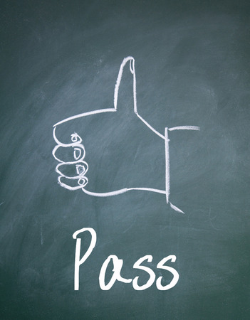commend: pass sign on blackboard