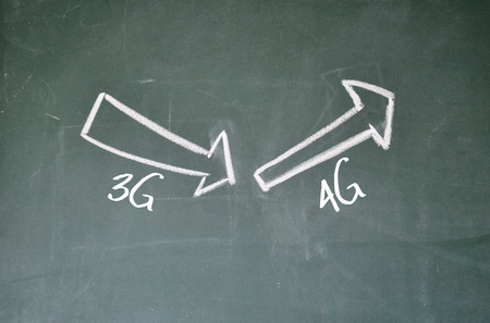 arise: 3G and 4G sign on blackboard Stock Photo