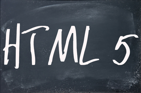 html 5: html 5 word write on blackboard