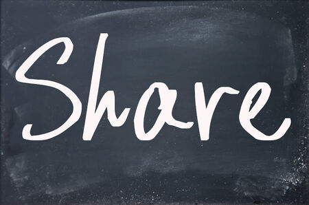 to partake: share word write on blackboard
